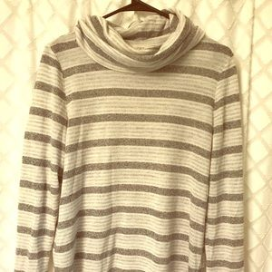 Loft Grey and white striped cowl neck sweater